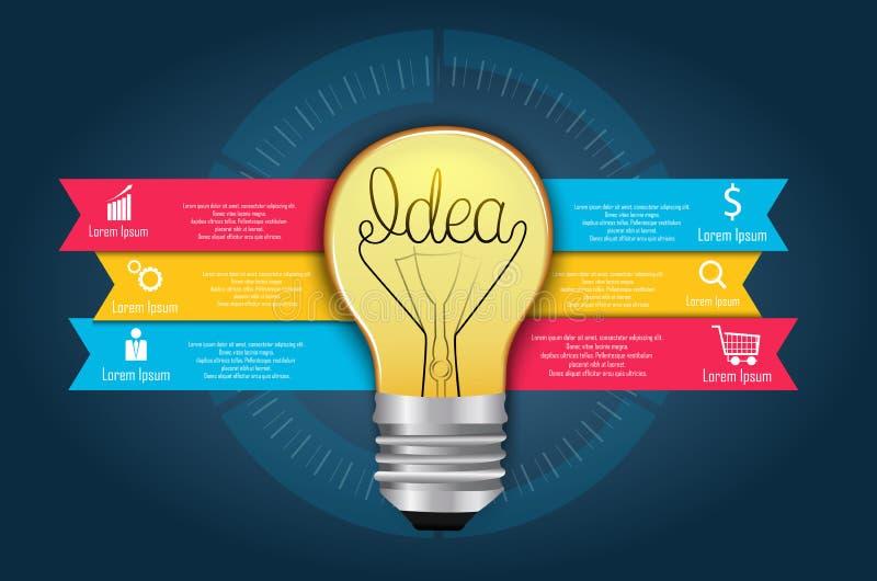 智力概念,创造性的电灯泡摘要信息图表 皇族释放例证