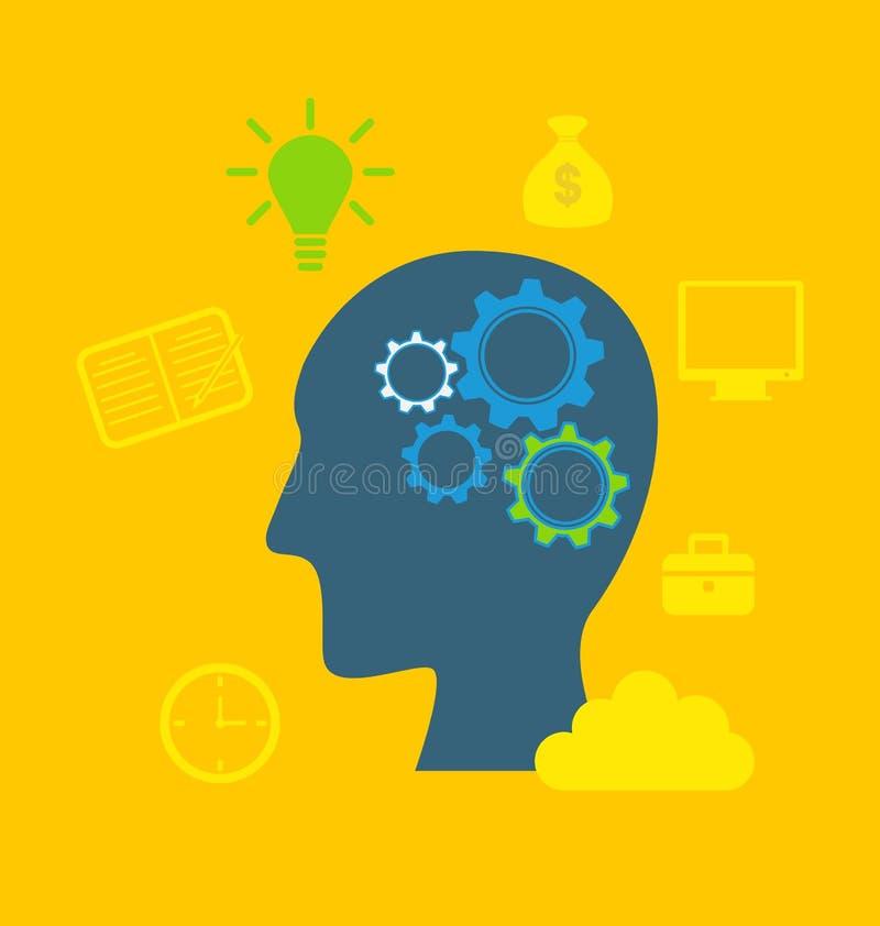 智力,智力劳动,生产力, creat的概念 库存例证