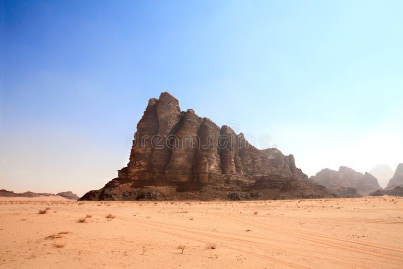 智慧山七柱子,瓦地伦沙漠,约旦 库存照片