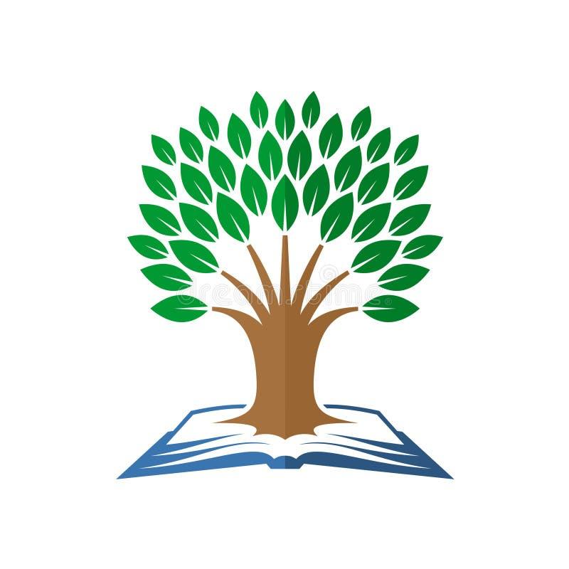 智慧树商标 打开书和树 向量例证
