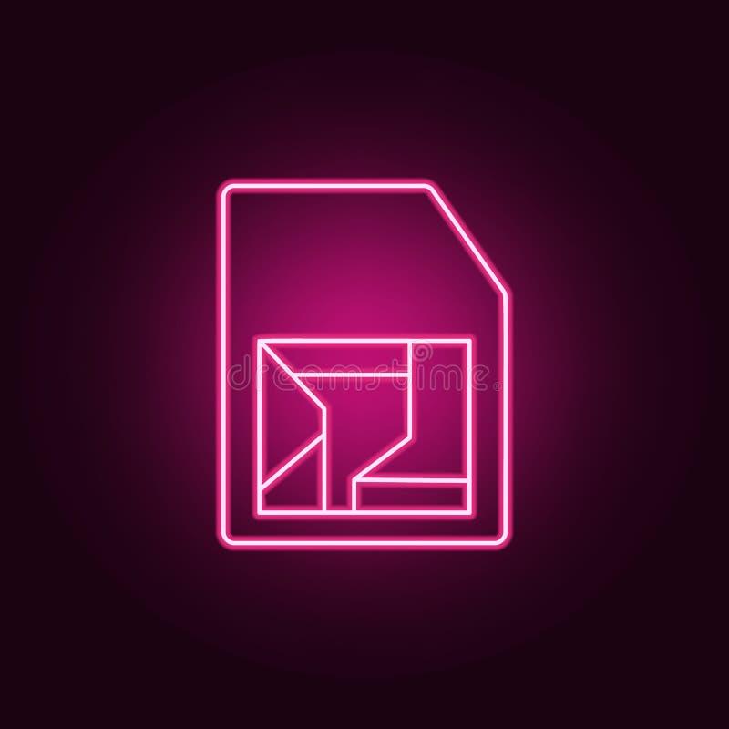 智能卡聪明的数据象 元素的人为在霓虹样式象 网站的简单的象,网络设计,流动应用程序,信息 库存例证