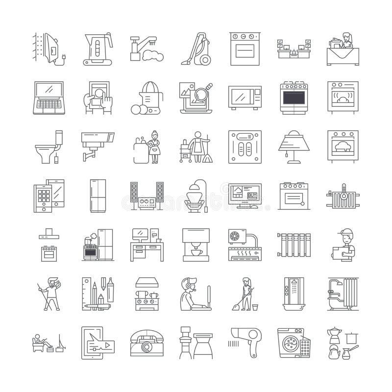 Smart home technology linear icons, signs, symbols vector line illustration set 库存例证