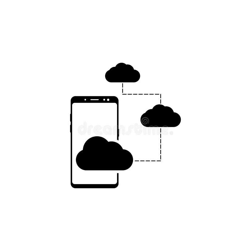 智能手机、云彩传染媒介象网站的和流动minimalistic平的设计 皇族释放例证