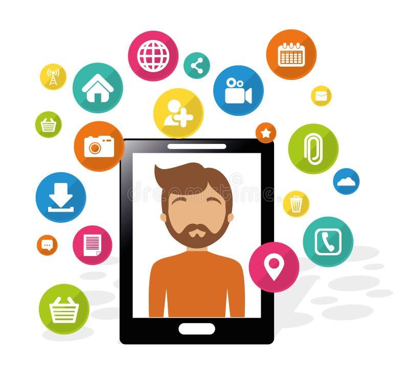智能手机人社会媒介应用 库存例证