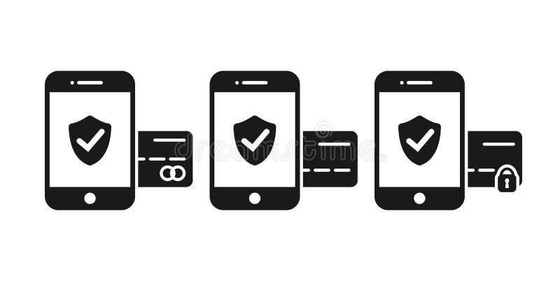 智能手机付款纵的沟纹平的传染媒介象 网路银行安全和安全付款概念象 向量例证