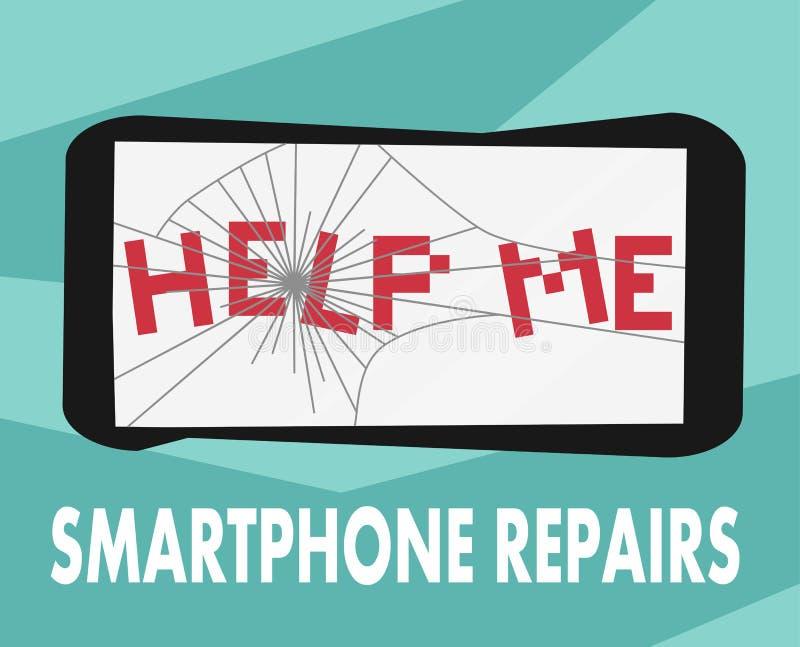智能手机修理平的设计标志 导航残破的电话的例证在帮助下我给的横幅,海报做广告字法 库存例证