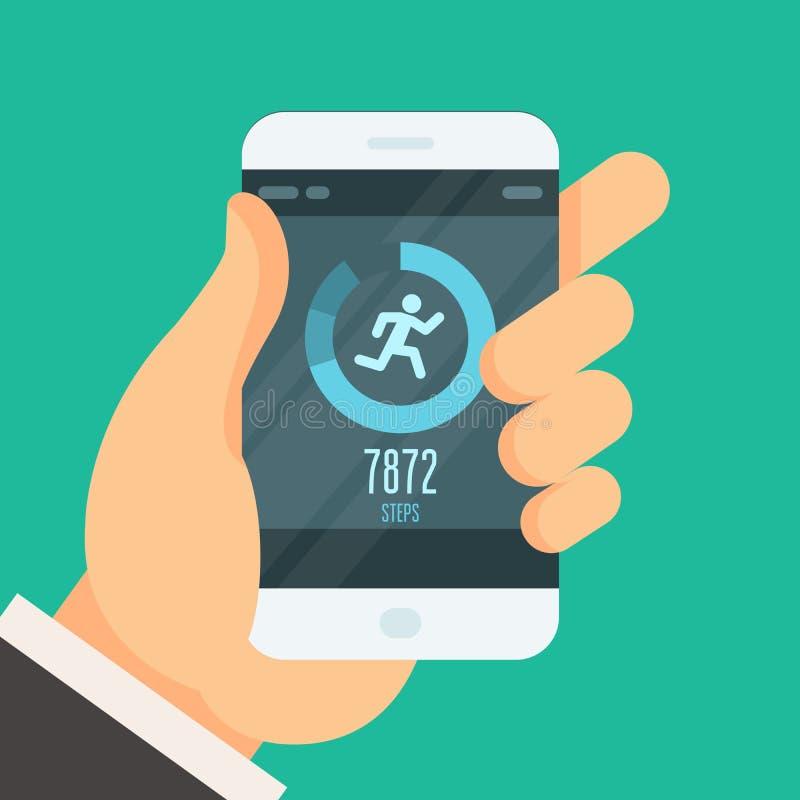 智能手机健身跟踪仪app -步进计数器 皇族释放例证