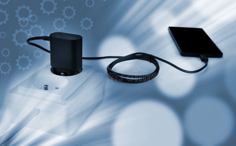 智能手机充电器接通插口 免版税图库摄影