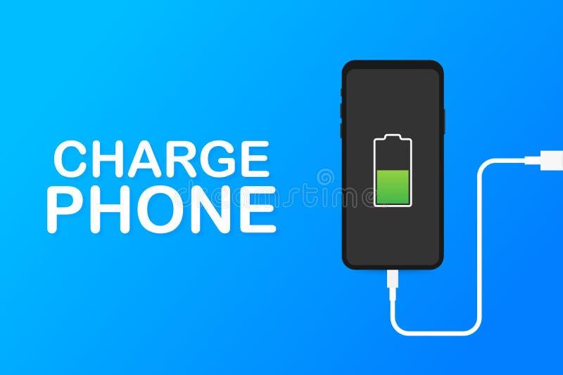 智能手机充电器适配器和电源插座,低电池通知 r 库存例证