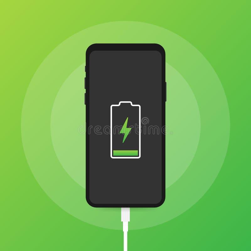 智能手机充电器适配器和电源插座,低电池通知 r 向量例证