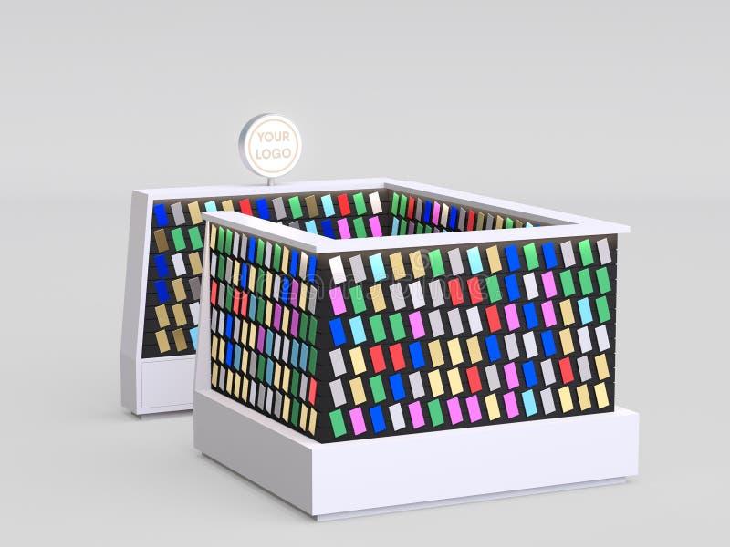 智能手机卖电话盒和其他智能手机项目里面购物中心的辅助部件报亭 3d?? 您的商标 皇族释放例证