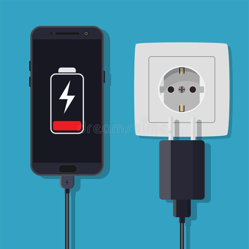 智能手机和充电器适配器 向量例证