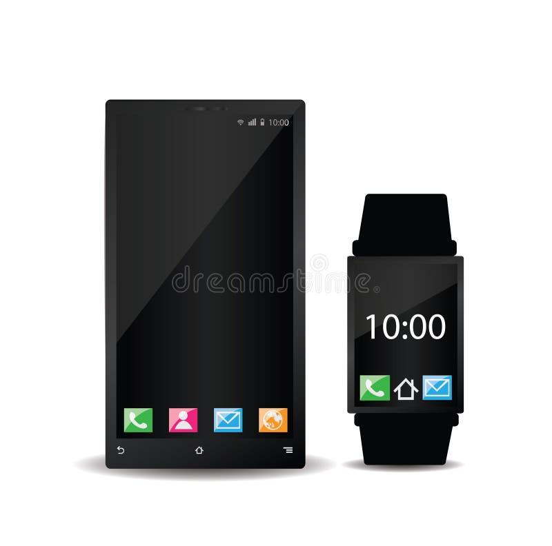智能手机和巧妙的手表在白色 库存例证