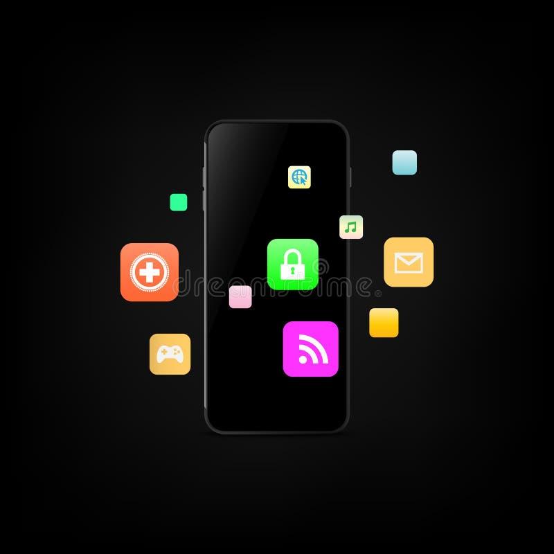 智能手机和应用象 r 皇族释放例证