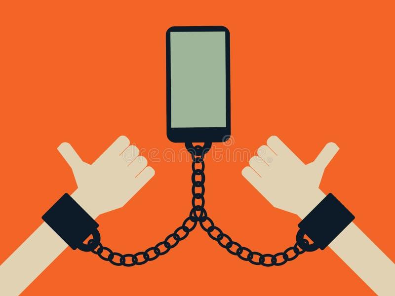智能手机和手机互联网技术瘾概念 社会媒介和网络瘾 向量例证