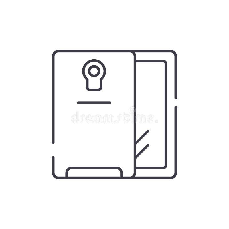 智能手机和案件线象概念 智能手机和案件传染媒介线性例证,标志,标志 库存例证