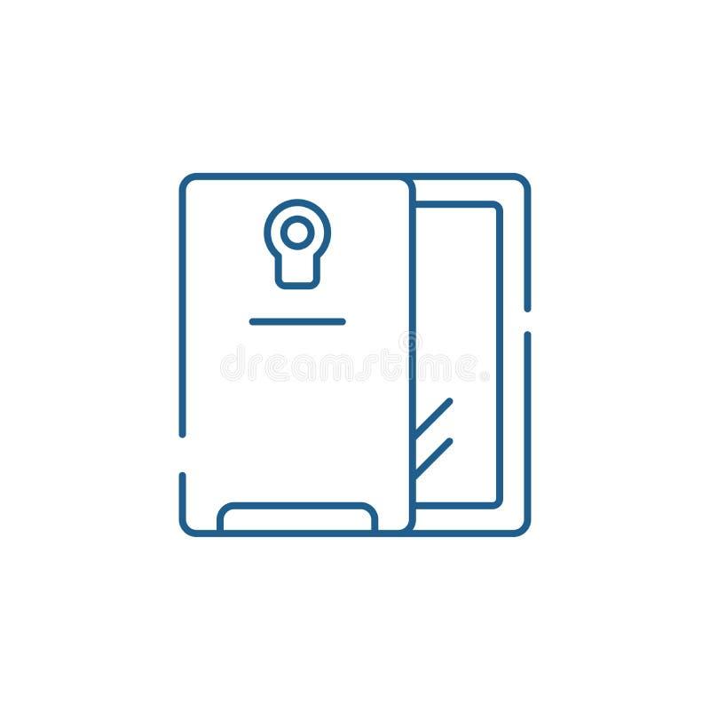 智能手机和案件线象概念 智能手机和案件平的传染媒介标志,标志,概述例证 向量例证