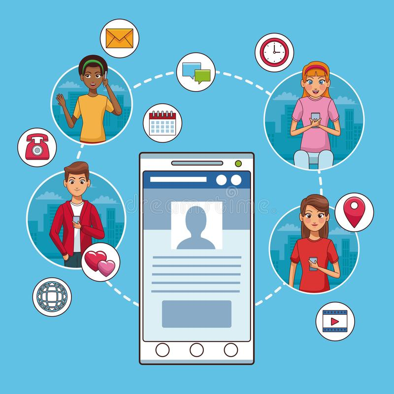 智能手机和社会网络 库存例证