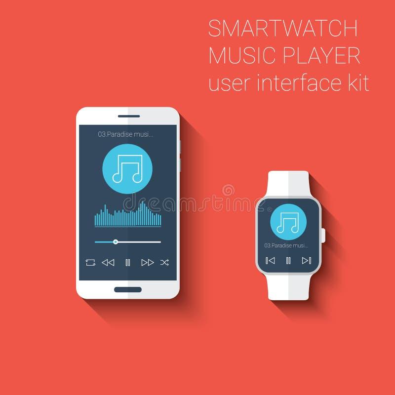 智能手机和smartwatch音乐播放器用户界面象成套工具 在现代平的设计的便携的技术概念 库存例证