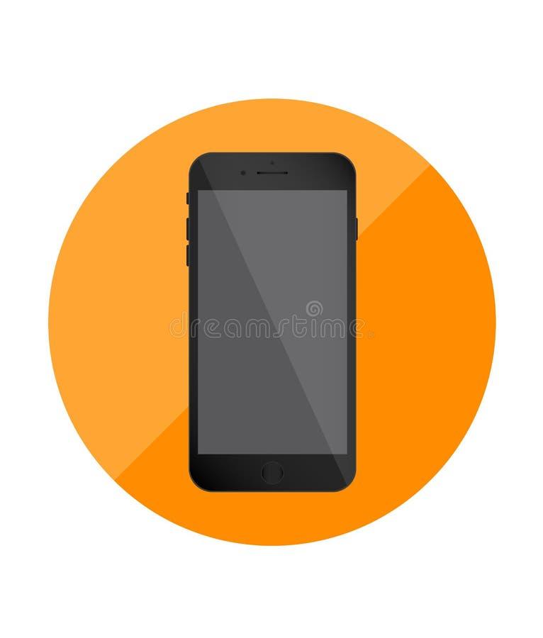 智能手机唯一平的象 应用的橙色象 向量 向量例证