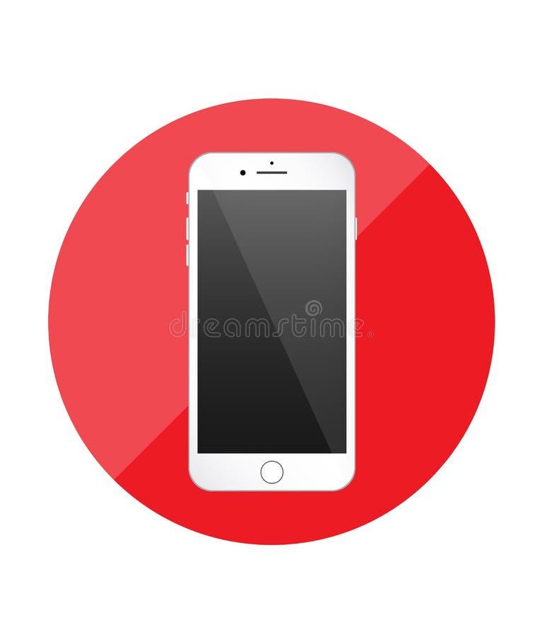 智能手机唯一平的象 应用的红色象 向量 库存例证