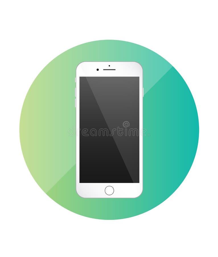 智能手机唯一平的象 应用的绿色象 向量 库存例证