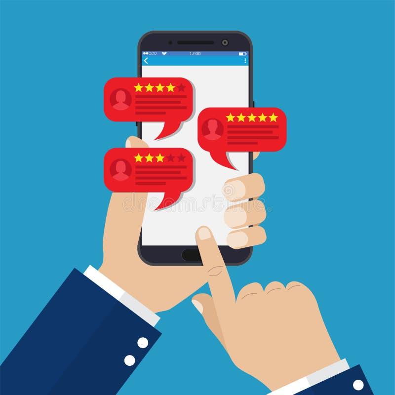 智能手机回顾与好和坏的星 库存例证