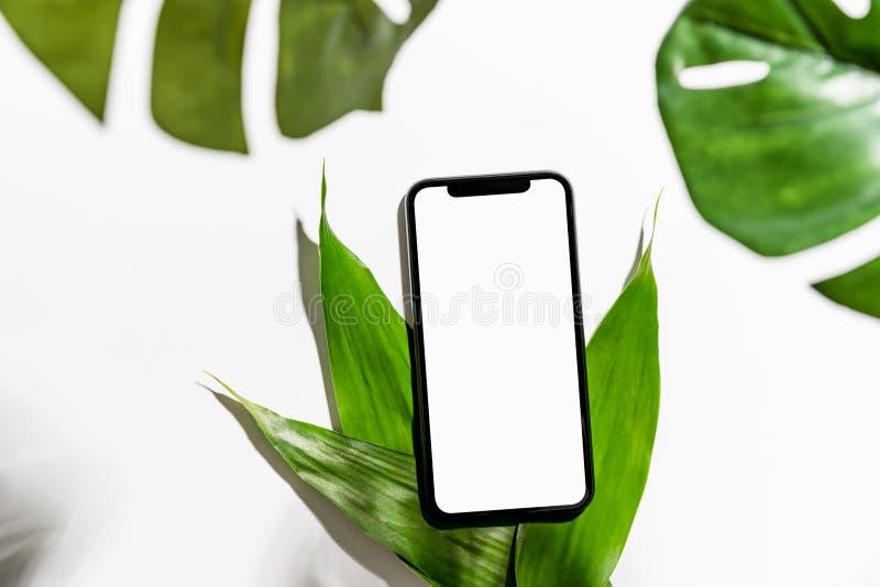 智能手机在宣传您的产品的桌嘲笑的屏幕空白 库存照片