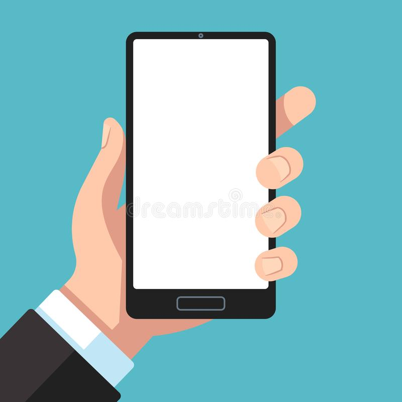 智能手机在手中 拿着手机的商人手 在胳膊模板的手机应用程序介绍平的传染媒介的 库存例证