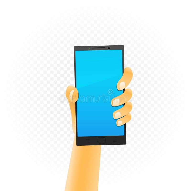 黑智能手机在手中 皇族释放例证