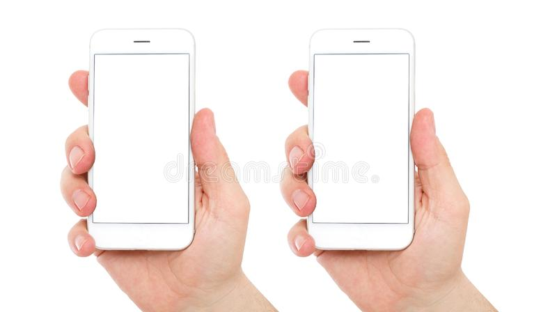 智能手机在男性手上 大模型的被隔绝的屏幕 两面的等量位置,拷贝空间 库存图片