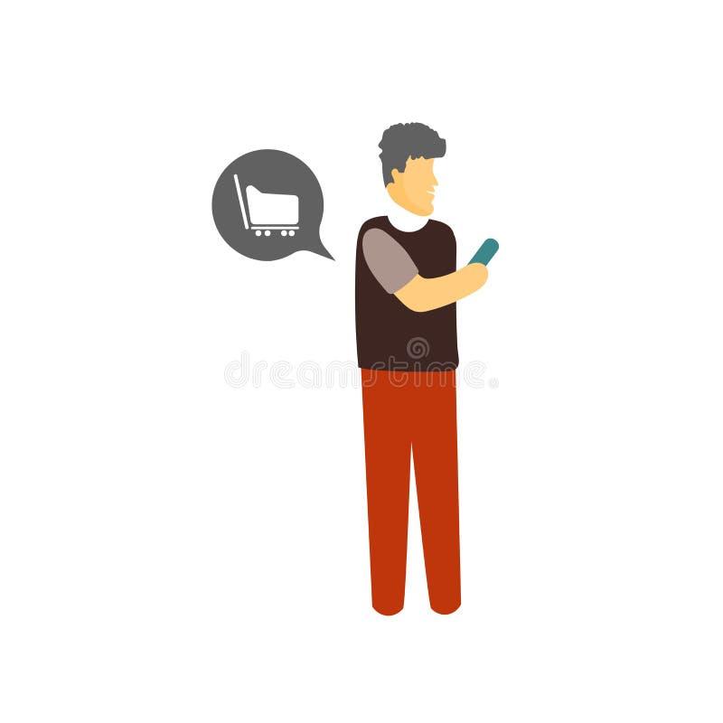 智能手机在白色背景隔绝的象传染媒介,智能手机标志,站立人或人卡通人物例证 向量例证