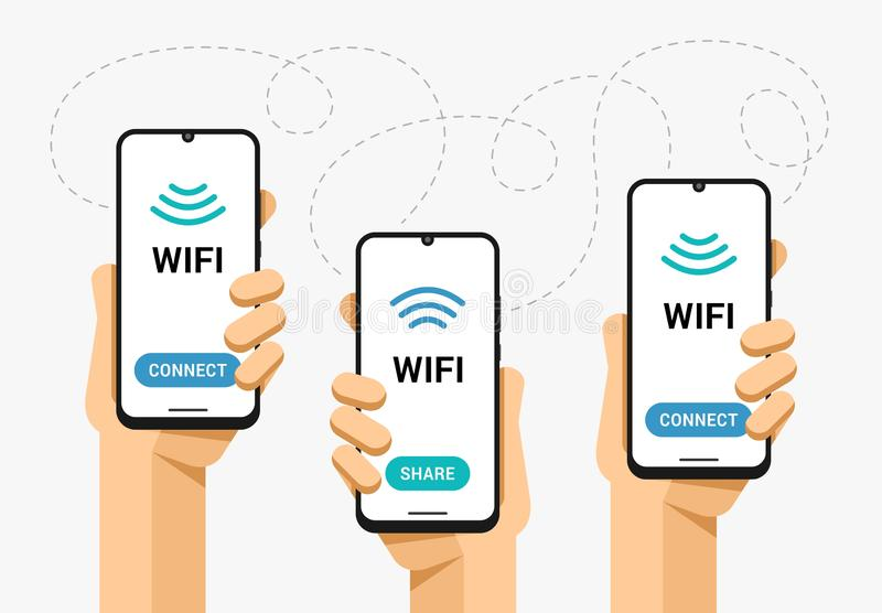 智能手机大模型在人的手上 Wifi信号份额和连接 网络区域连通性 传染媒介平的五颜六色的例证 皇族释放例证