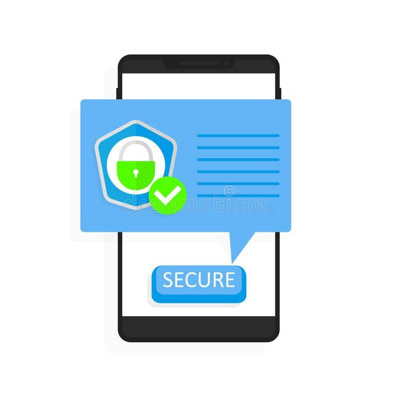 智能手机安全传染媒介例证,平的有被保护的盾检查号的,安全连接通知样式手机 皇族释放例证