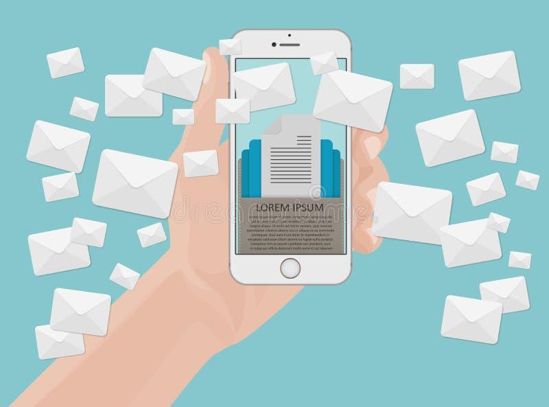 从智能手机屏幕的许多信封消息在手中 电子邮件营销概念 拿着电话 向量例证