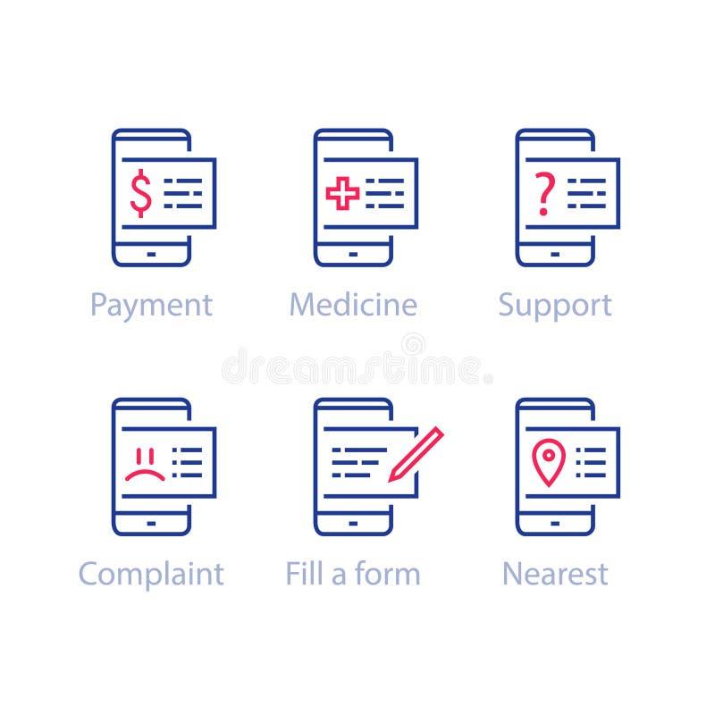 智能手机应用、流动付款、遥远的支持和教导,电子通讯 库存例证