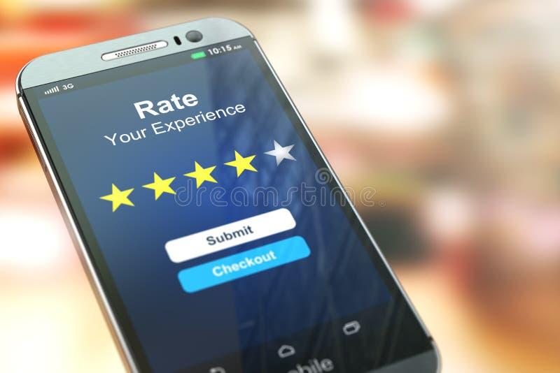 智能手机或手机有文本率的您的经验在 库存例证