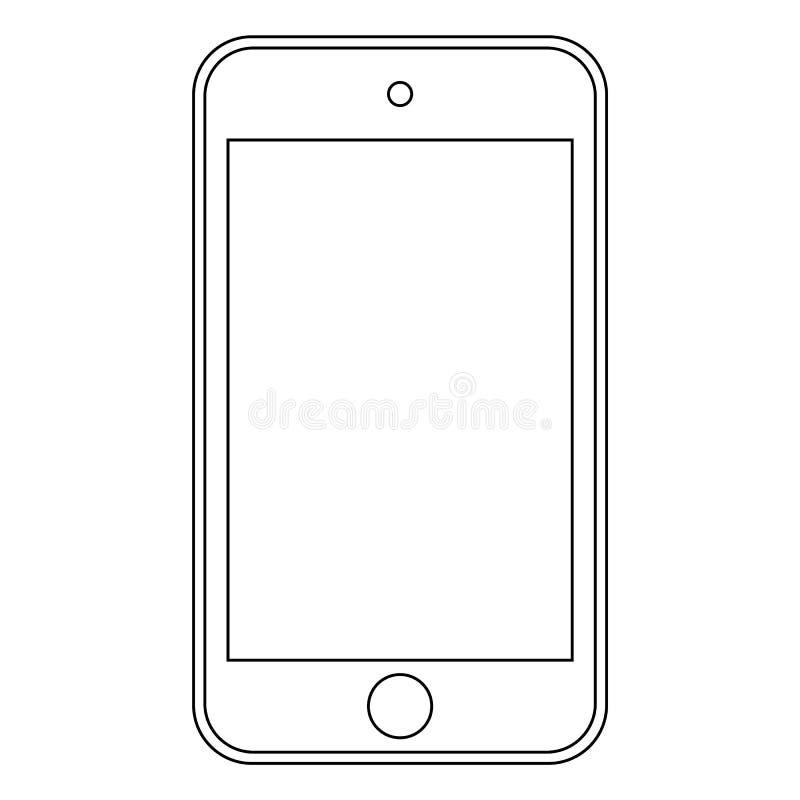 智能手机手机概述经典样式象 智能手机在白色背景的概述传染媒介eps10 皇族释放例证