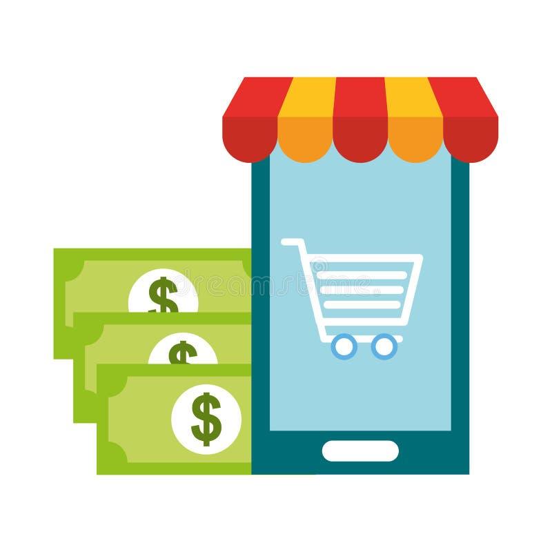 智能手机推车钞票金钱网络购物 皇族释放例证