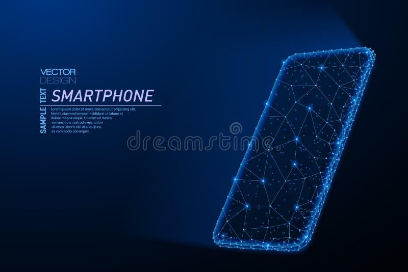 智能手机摘要多角形轻的设计有发光的屏幕的 向量例证