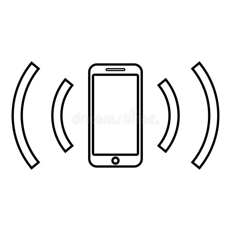 智能手机散发无线电波声波散发的波浪概念象概述黑色传染媒介例证平的样式图象 库存例证