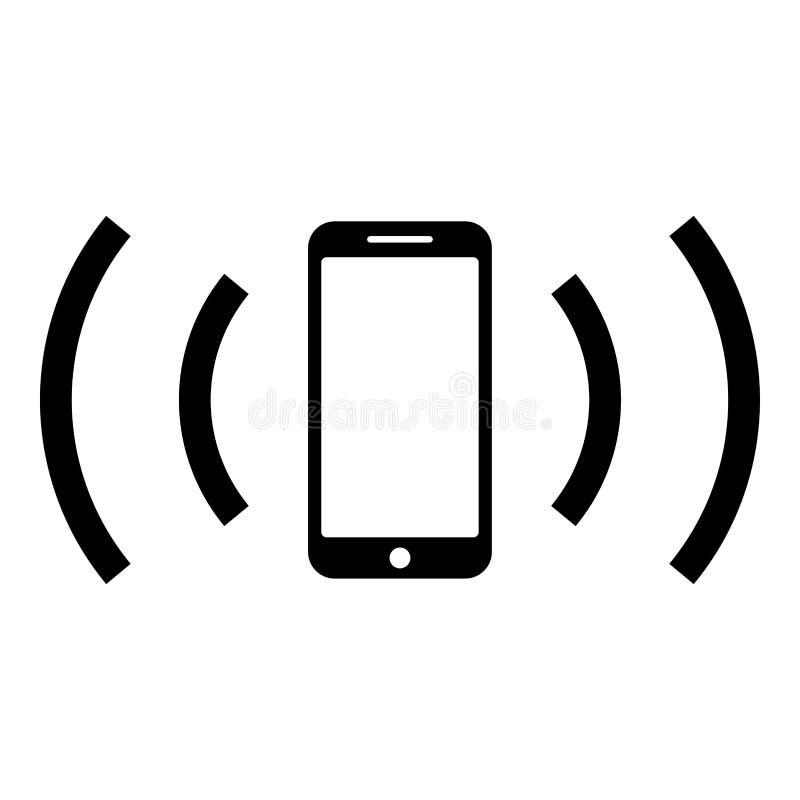 智能手机散发无线电波声波散发的波浪概念象黑色传染媒介例证平的样式图象 库存例证