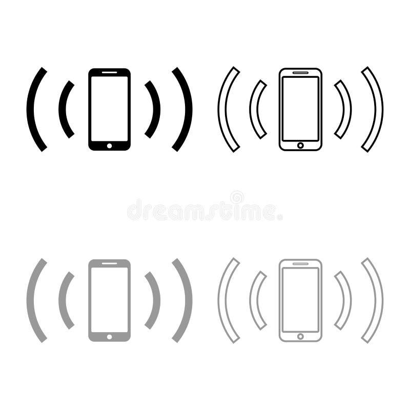 智能手机散发无线电波声波散发的波浪概述设置黑灰色颜色传染媒介例证平的样式的概念象 库存例证