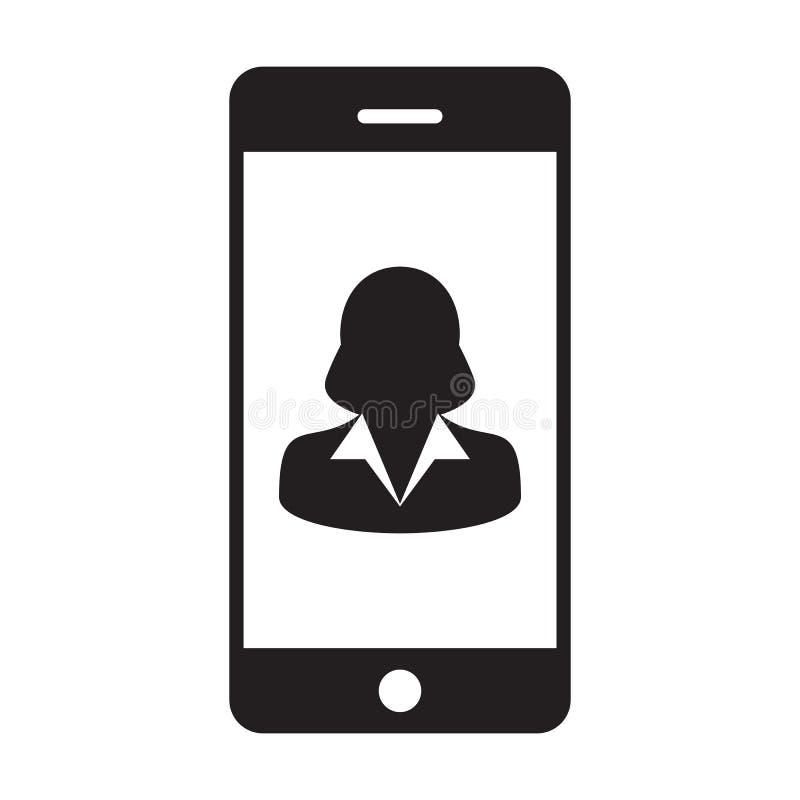 智能手机用户象传染媒介女性有流动标志的外形具体化在纵的沟纹图表的通信的 向量例证