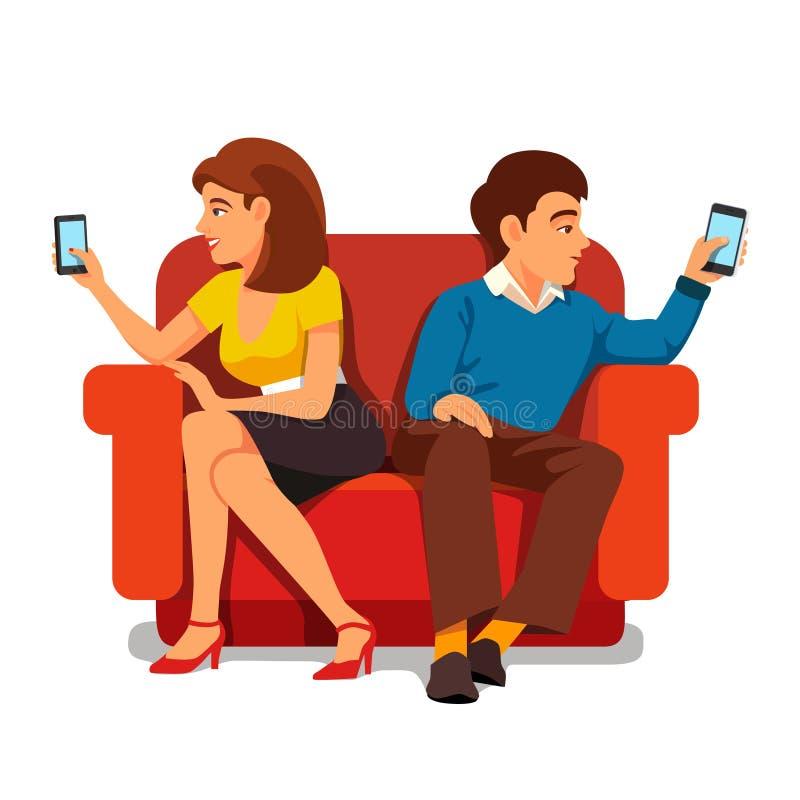 智能手机瘾家庭关系 向量例证