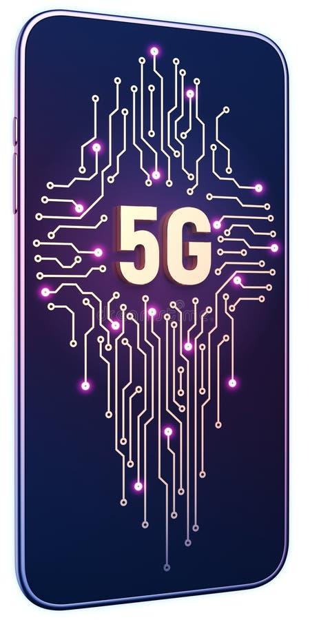 智能手机白色被隔绝的背景氖焕发 金黄5g标志和电路板在屏幕上 5g互联网概念在技术3d 皇族释放例证