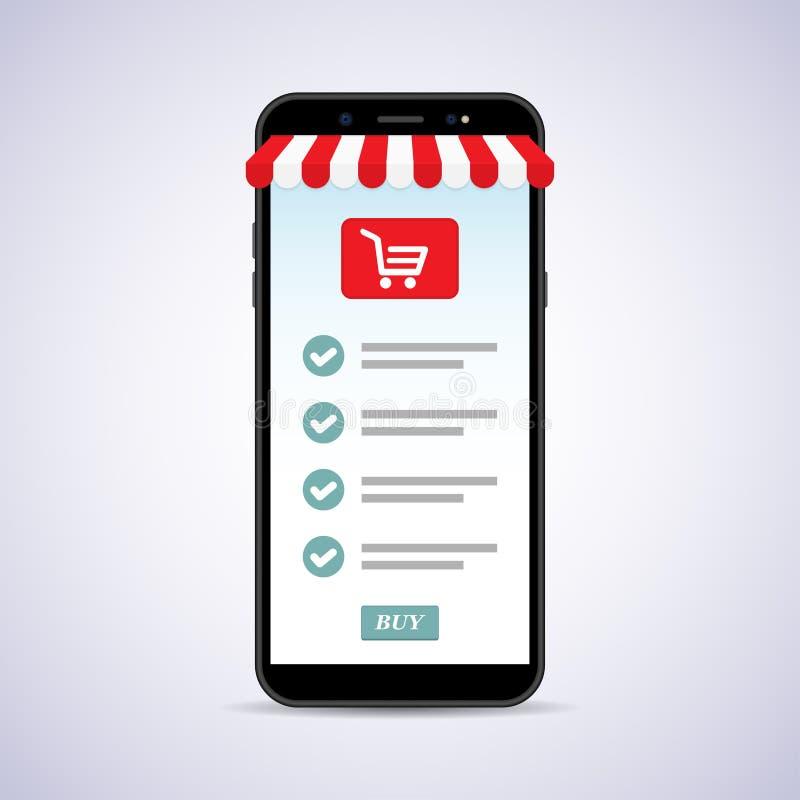 智能手机的网店 网上商店概念 库存例证