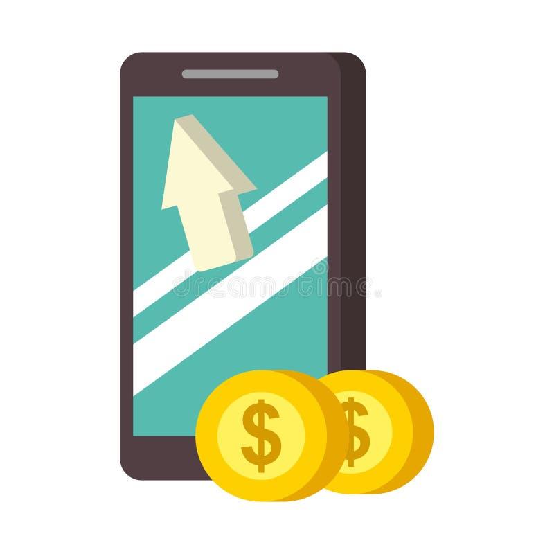 智能手机硬币金钱nfc付款 库存例证
