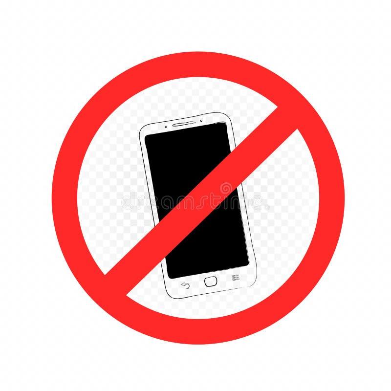 智能手机禁止标志标志 皇族释放例证