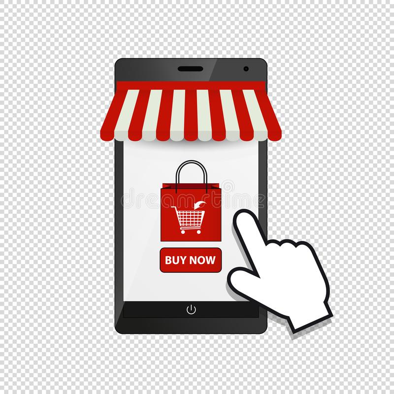 智能手机网店标志-遮篷、手推车和鼠标-在白色背景-隔绝的传染媒介例证 向量例证
